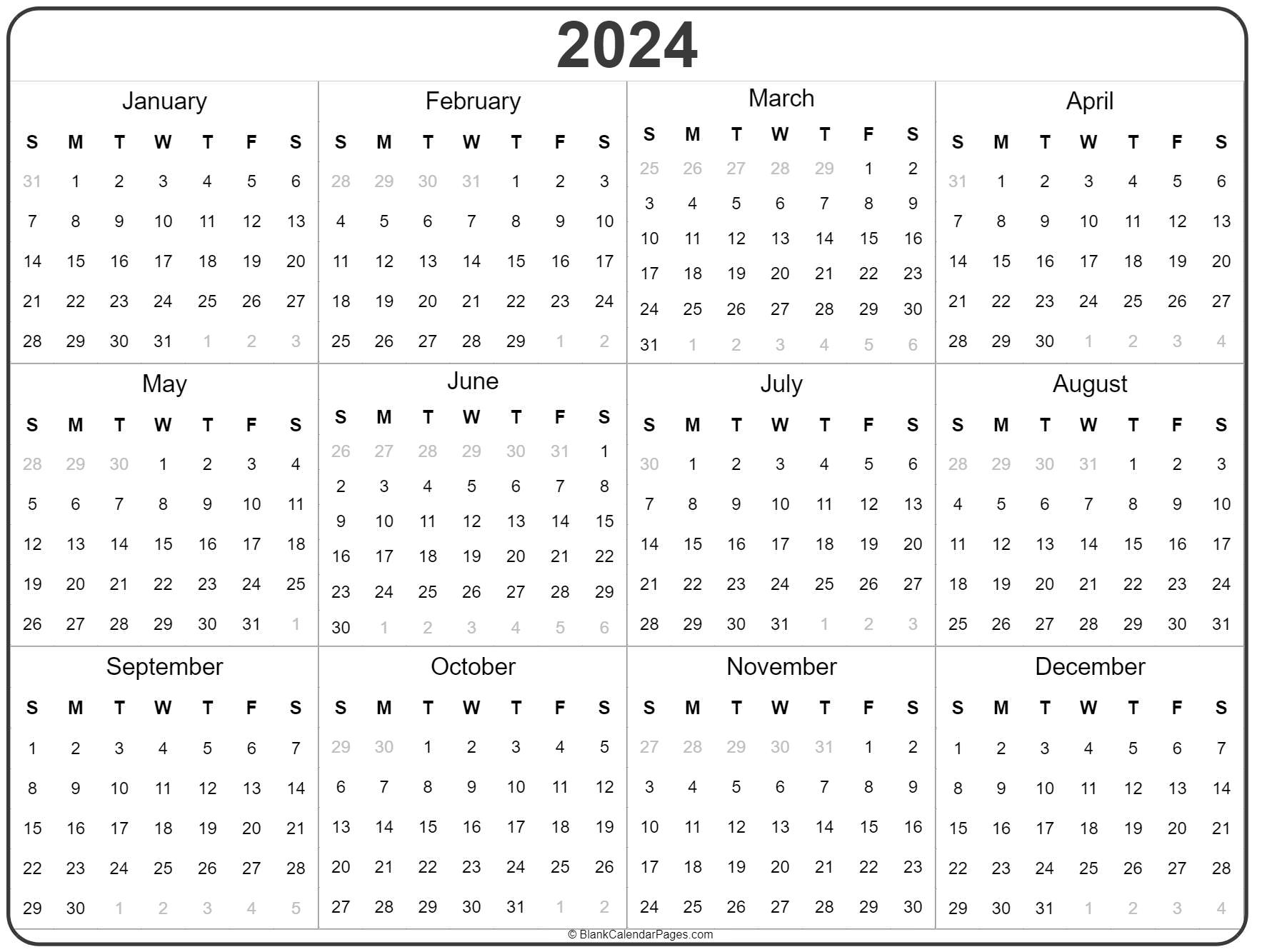 2024 Year Calendar Yearly Printable