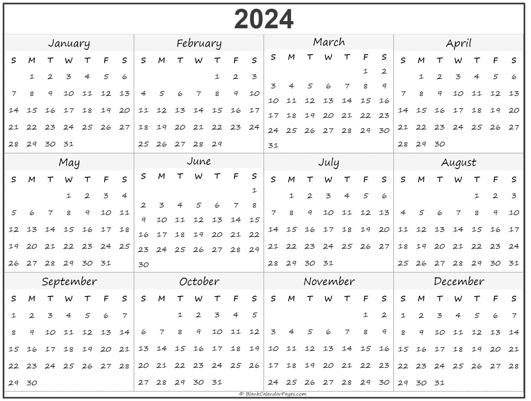 Yearly calendar 2024