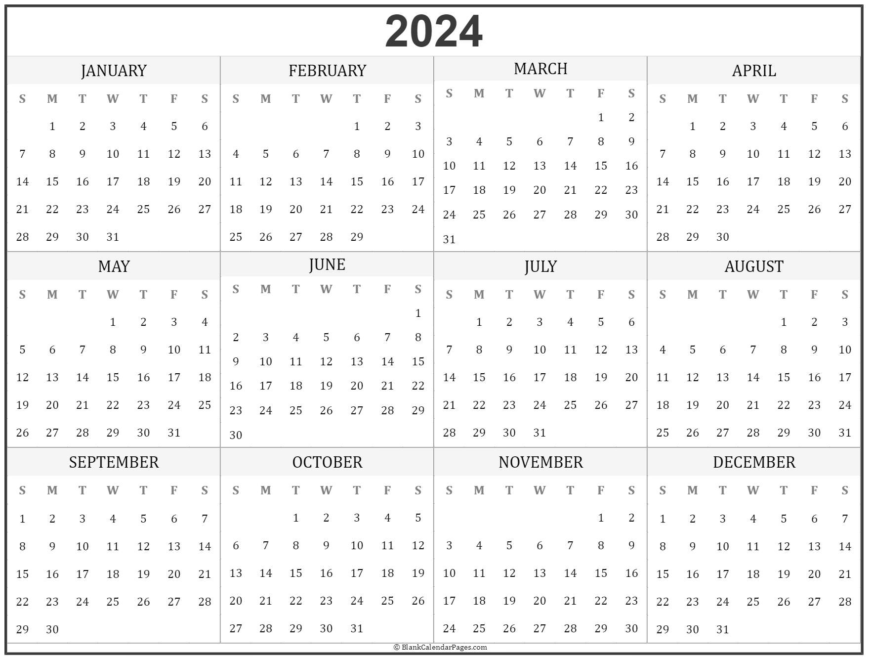 image about Printable Year Calendar identify 2024 yr calendar on a yearly basis printable