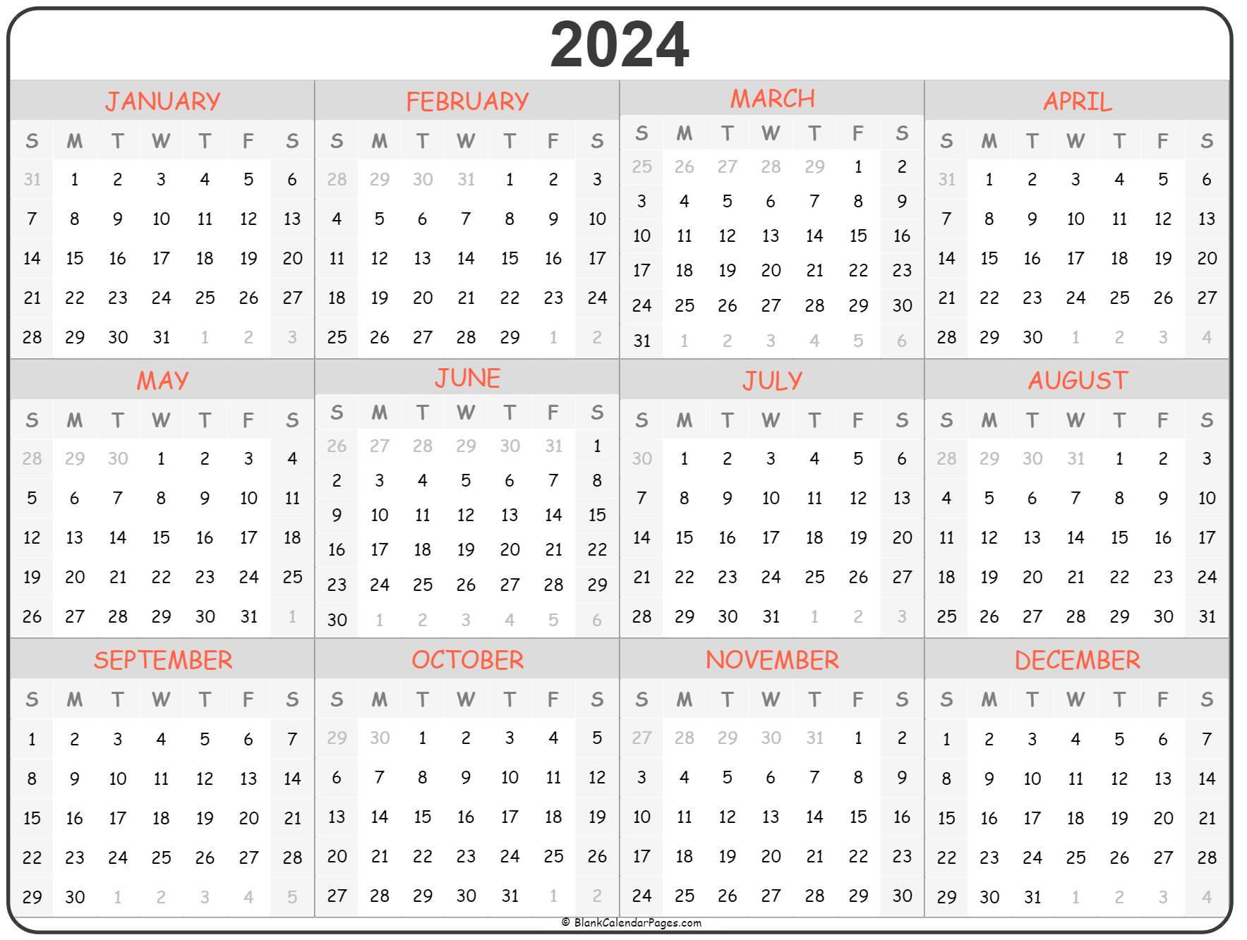 2024 year calendar