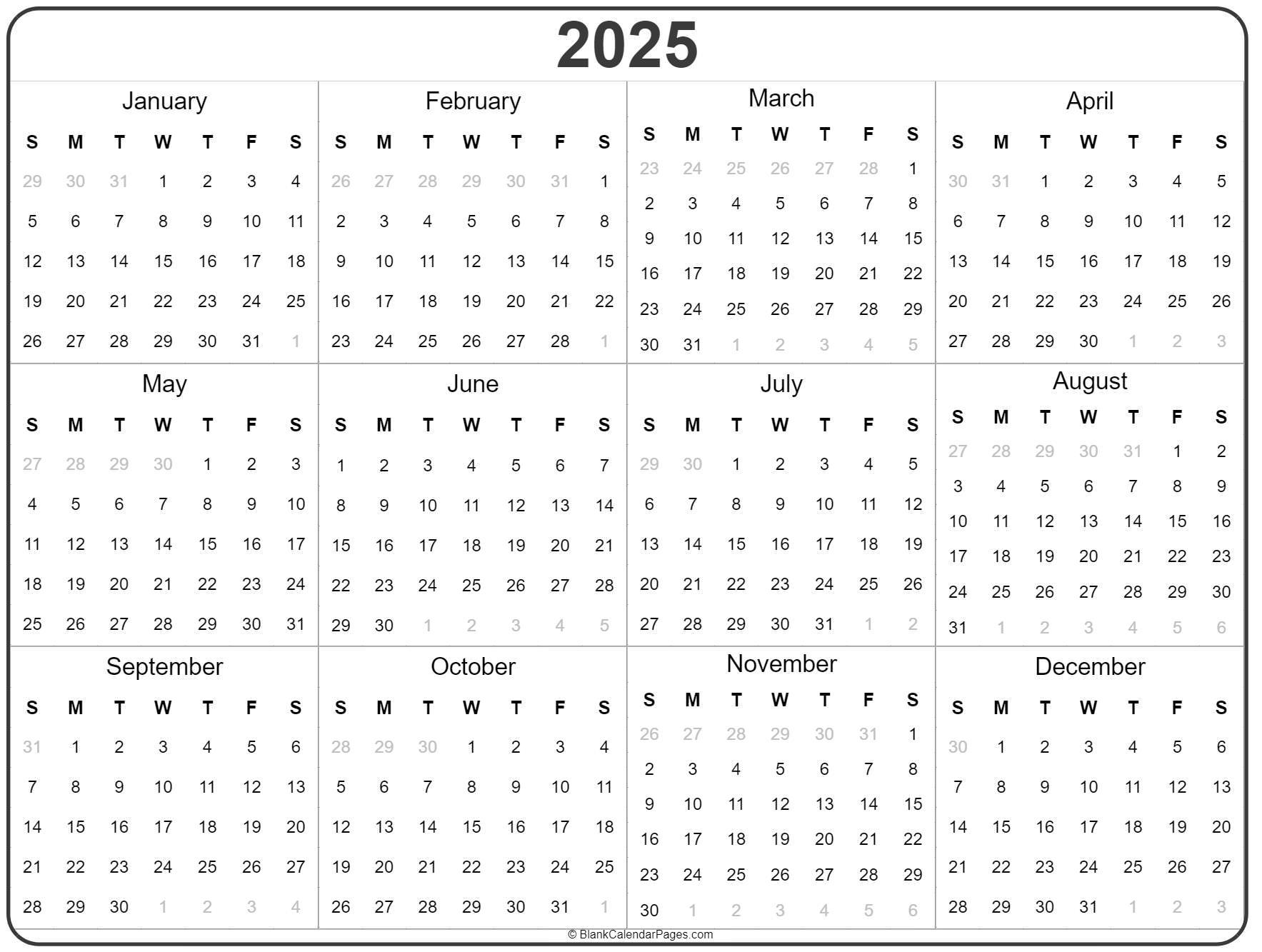 2025 year calendar template